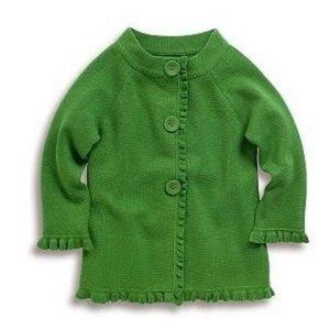 Boden Green Ruffle Swing Cardigan Sweater